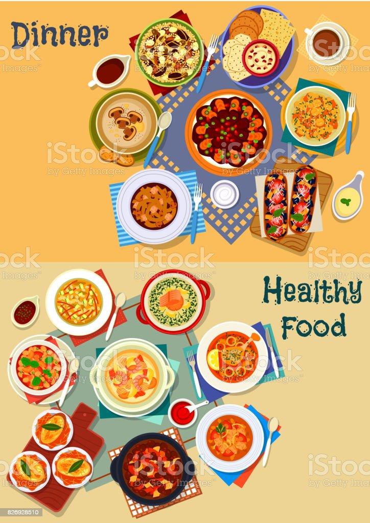 Soup and salad of world cuisine icon set design vector art illustration