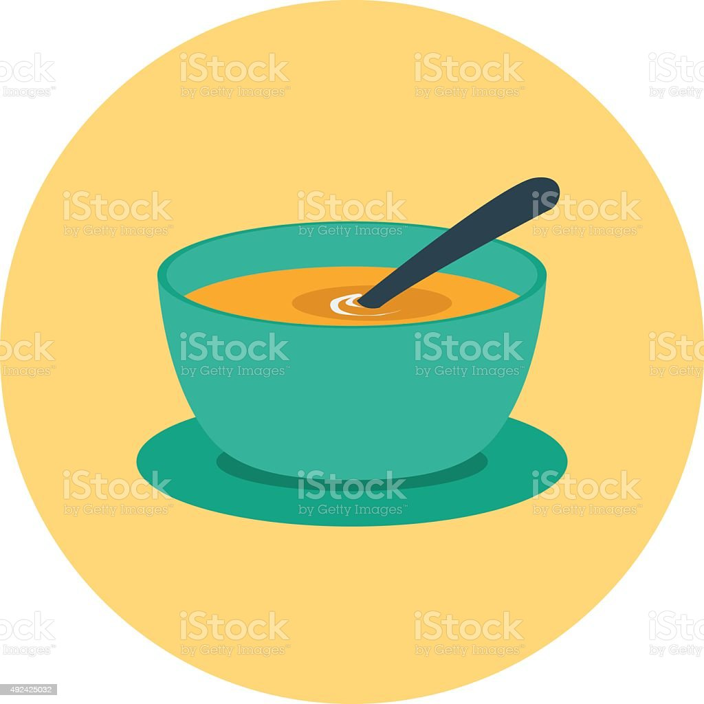 Soup Bowl Colored Vector Icon vector art illustration