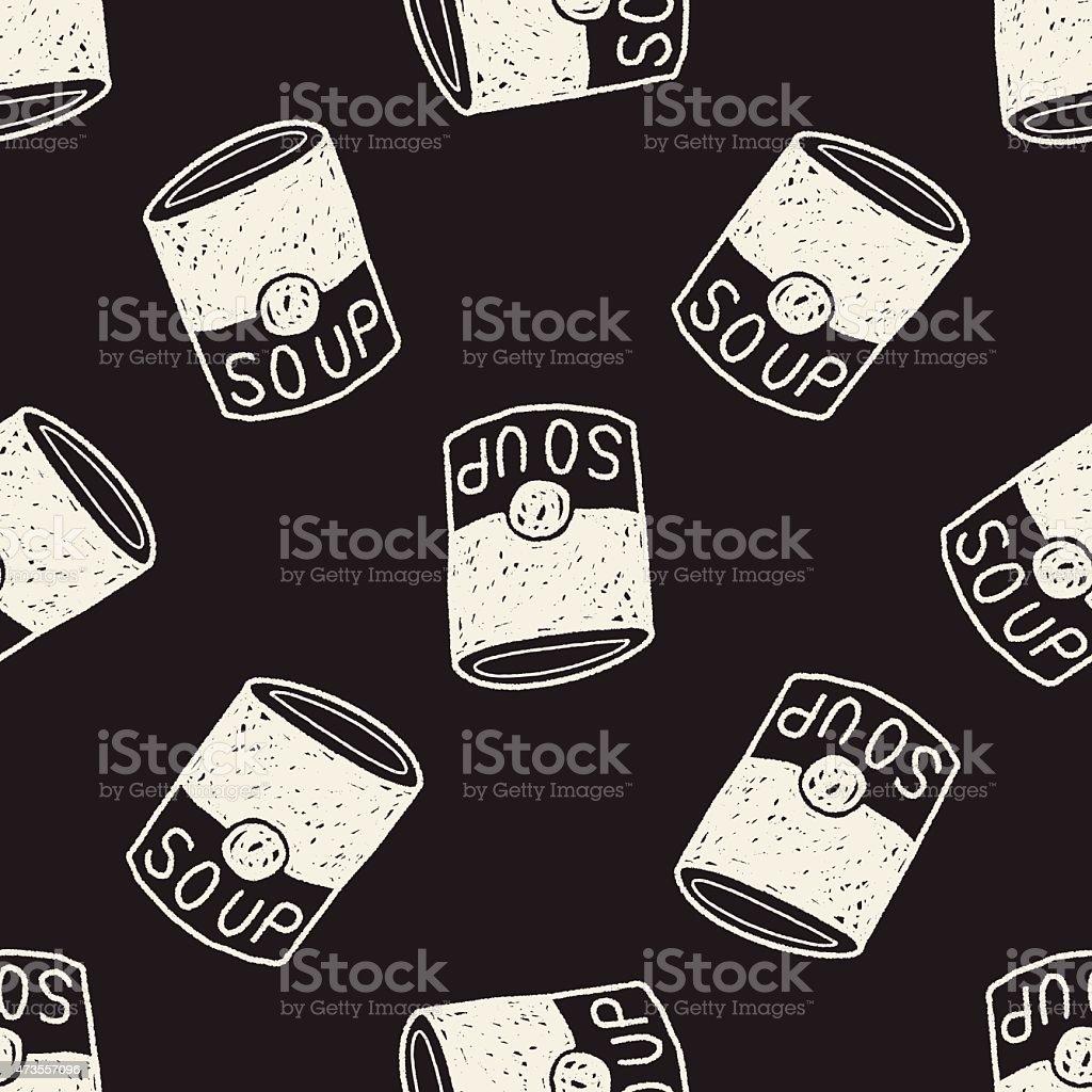 soup doodle seamless pattern background vector art illustration