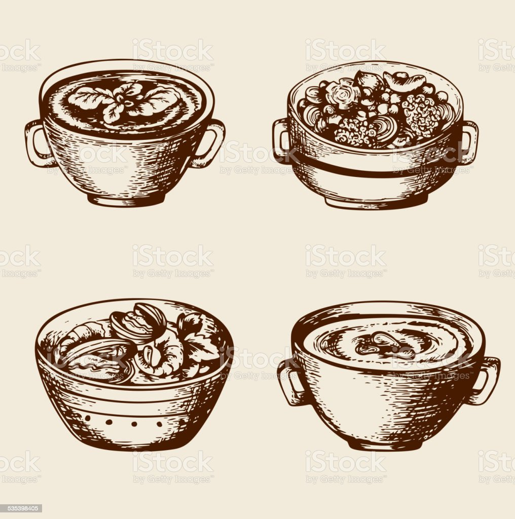 Soup from seafood and vegetables vector art illustration
