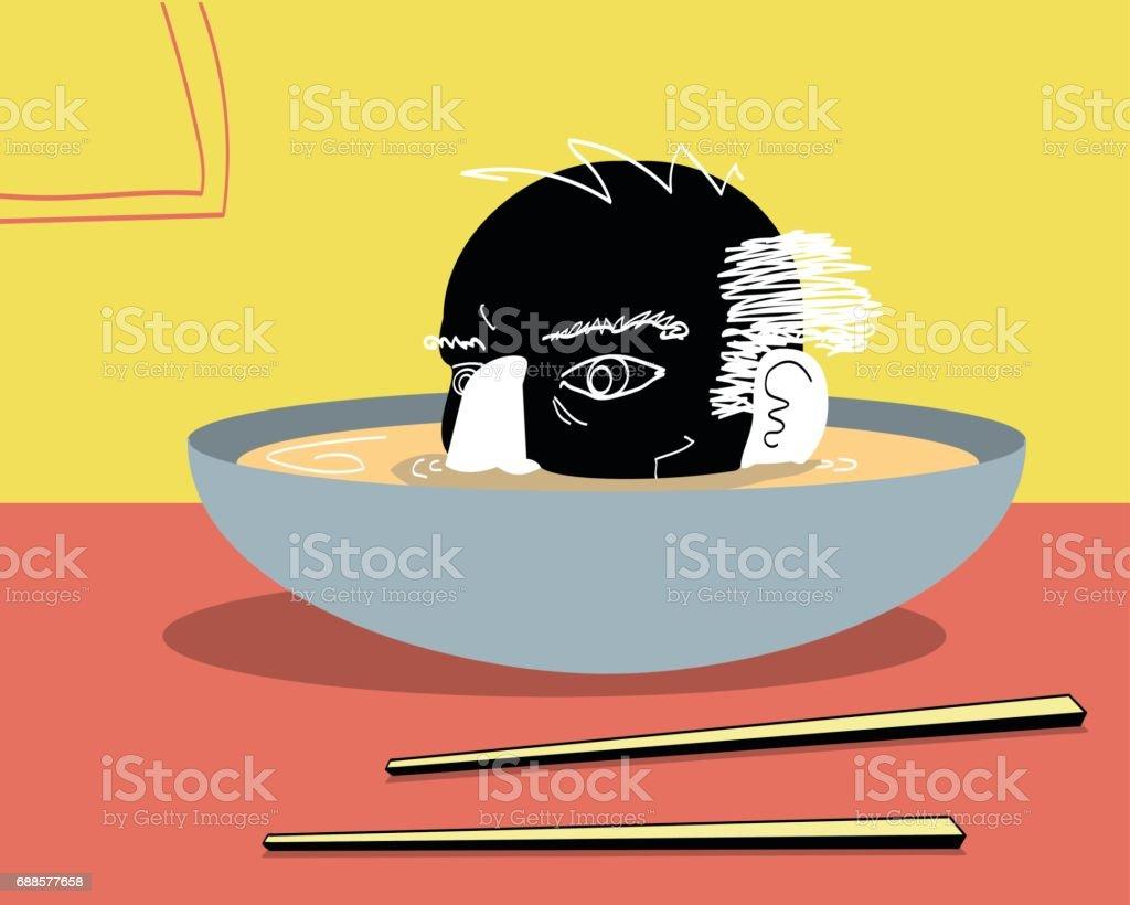 Soup Head vector art illustration