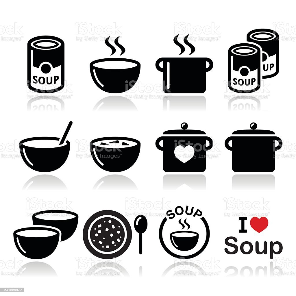 Soup in bowl, can and pot - food icon set vector art illustration