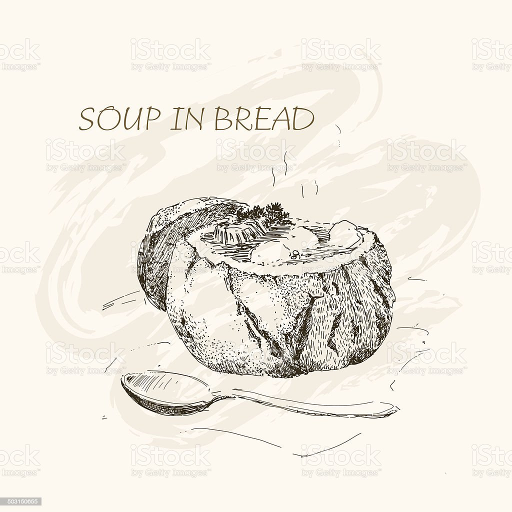 Soup in bread royalty-free stock vector art