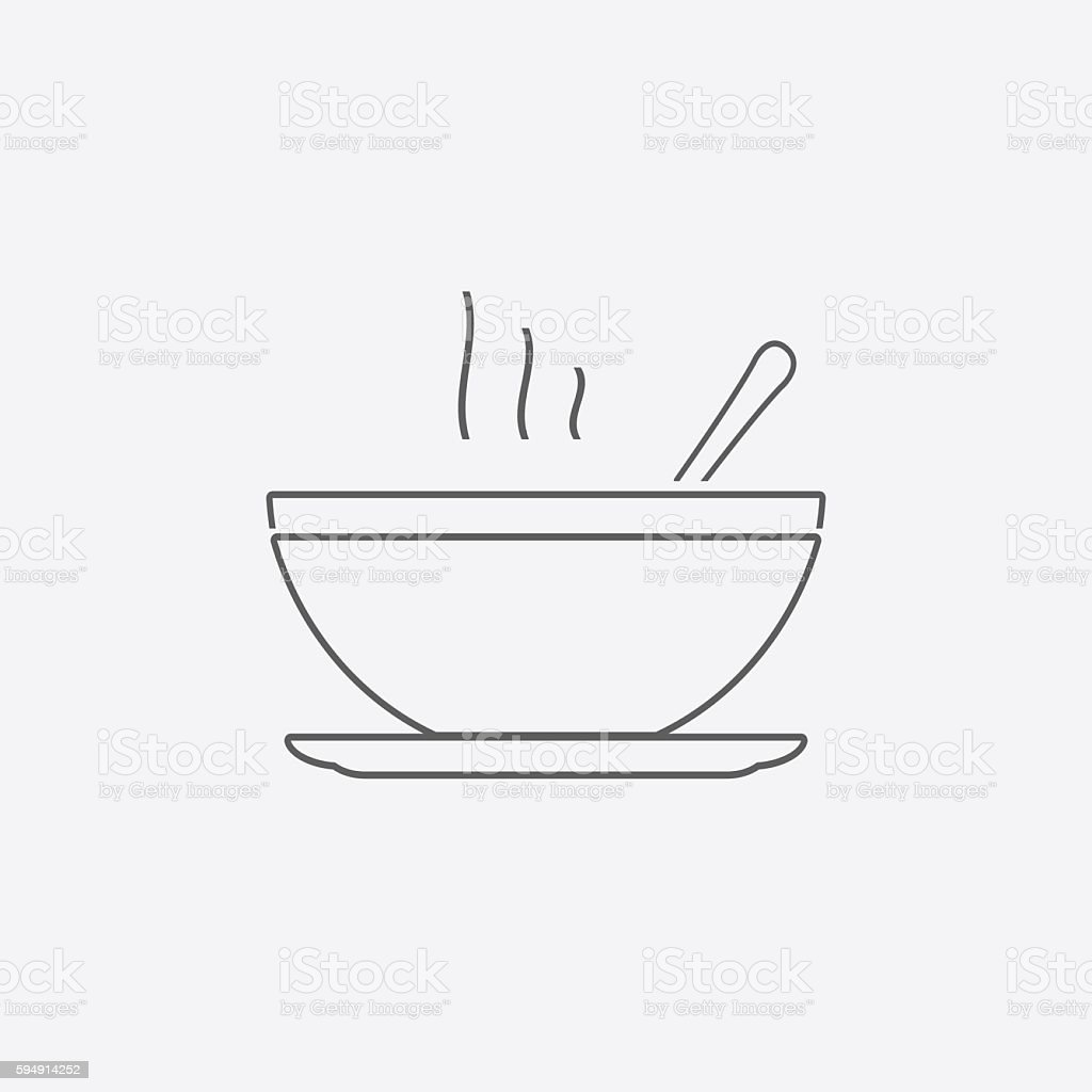 Soup line icon vector art illustration
