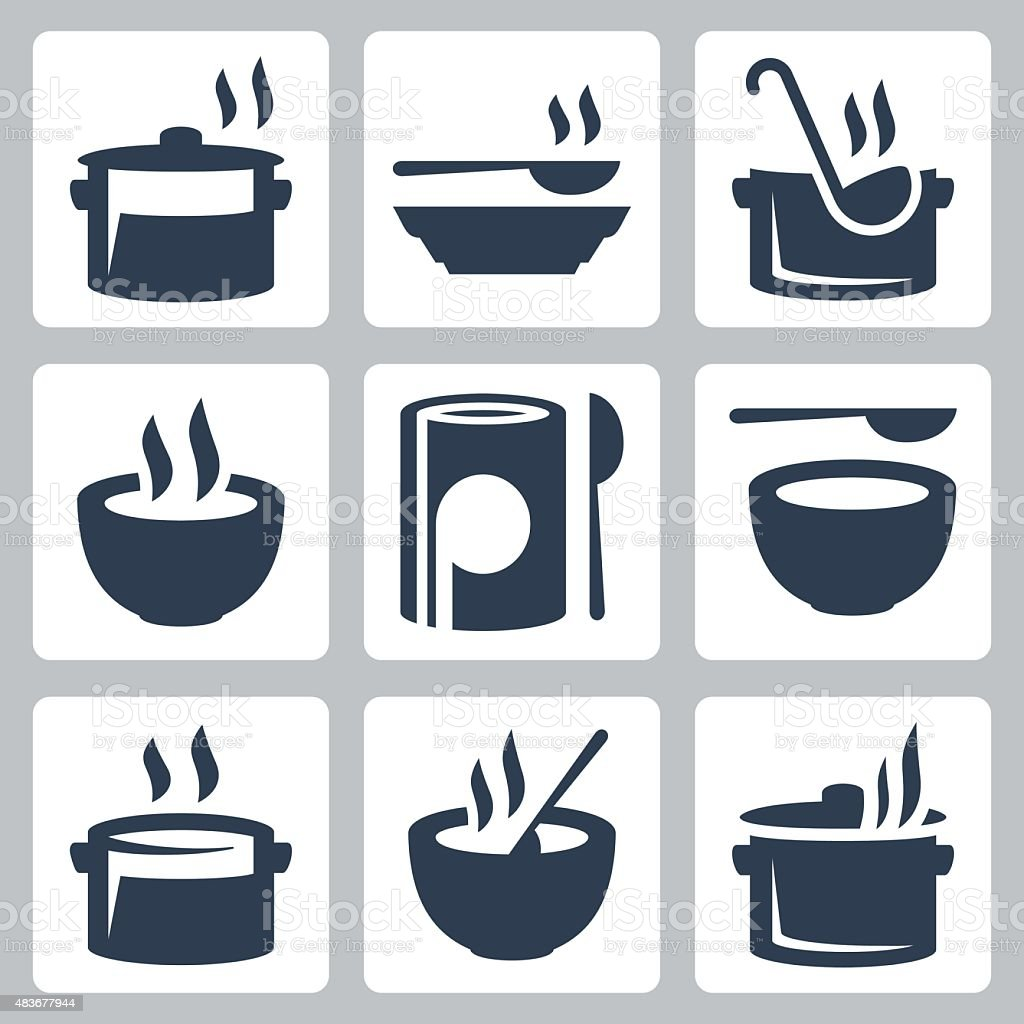 Soup related vector icon set vector art illustration