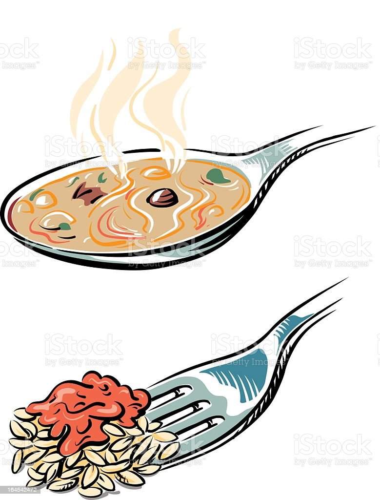 Soup spoon and fork with risotto vector art illustration