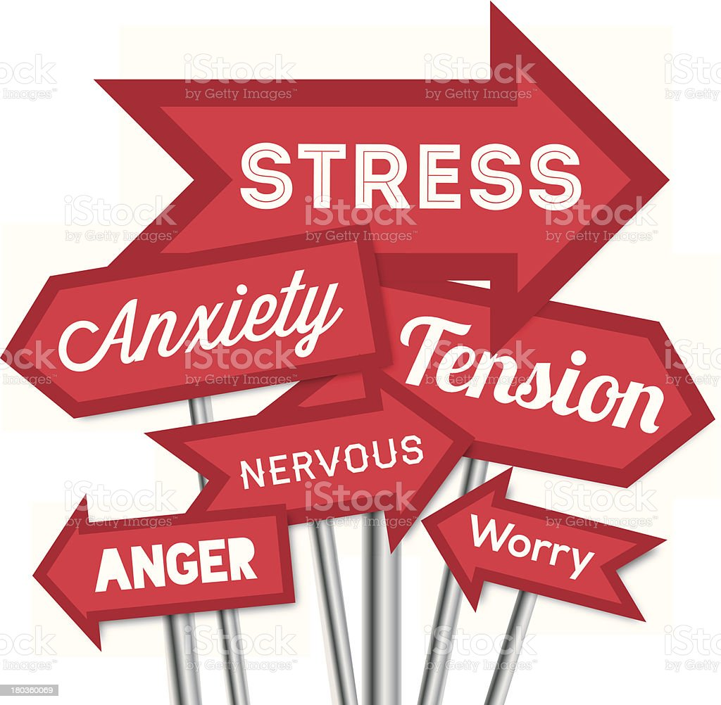 Source of stress arrows vector art illustration