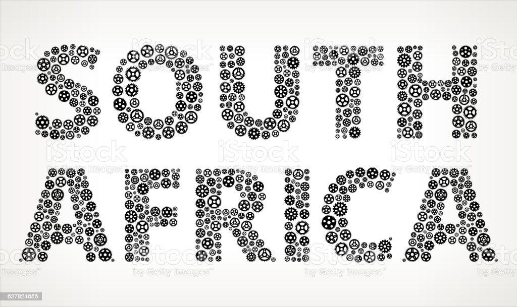 South Africa Black Gears Vector Graphic Illustration vector art illustration