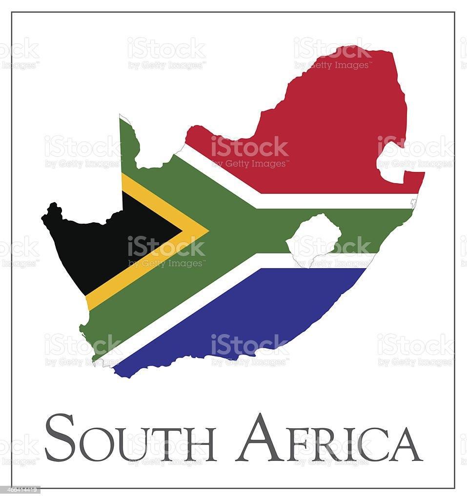 South Africa flag map vector art illustration