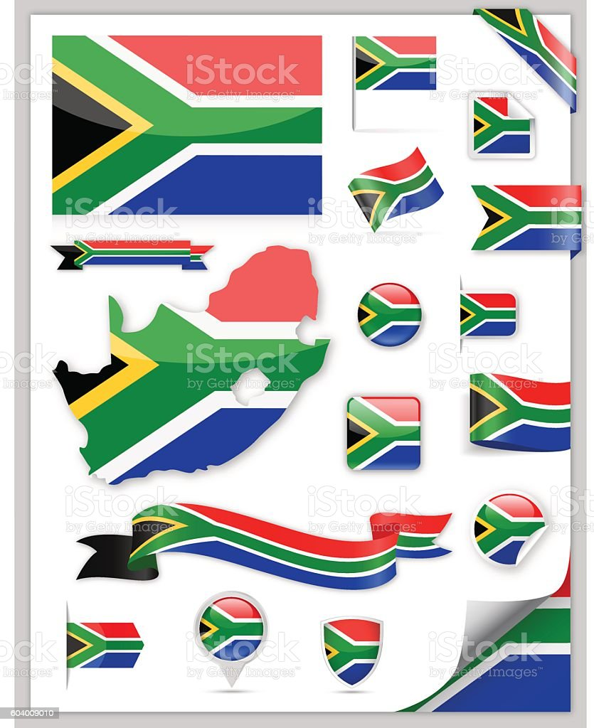 South Africa Flag Set - Vector Collection vector art illustration