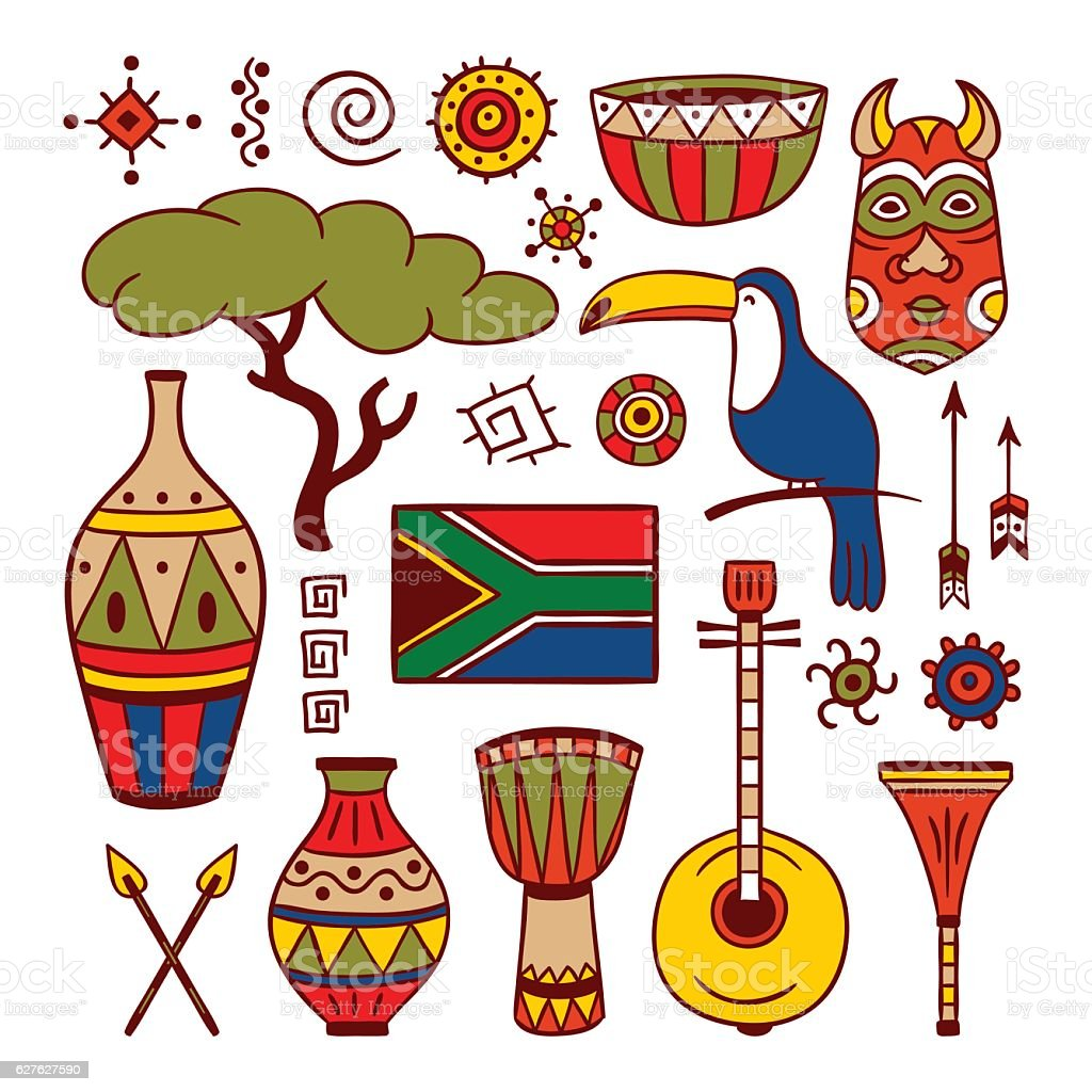 South Africa hand drawn illustrations and objects, tribal elements vector art illustration