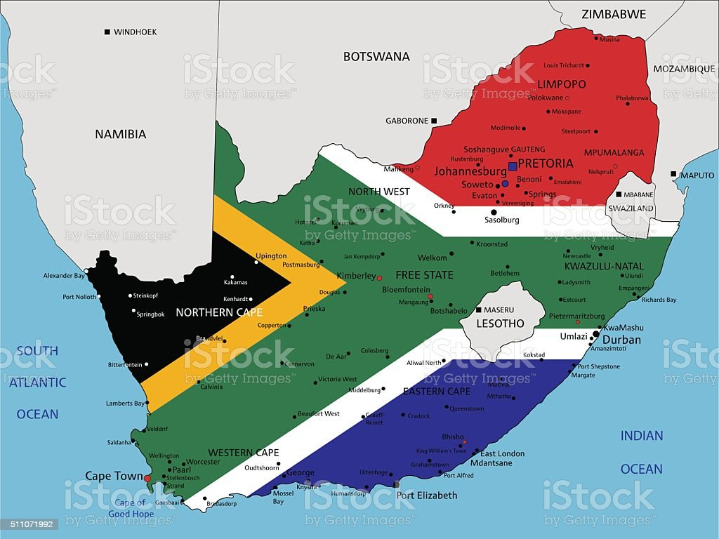 South Africa highly detailed political map with national flag. vector art illustration