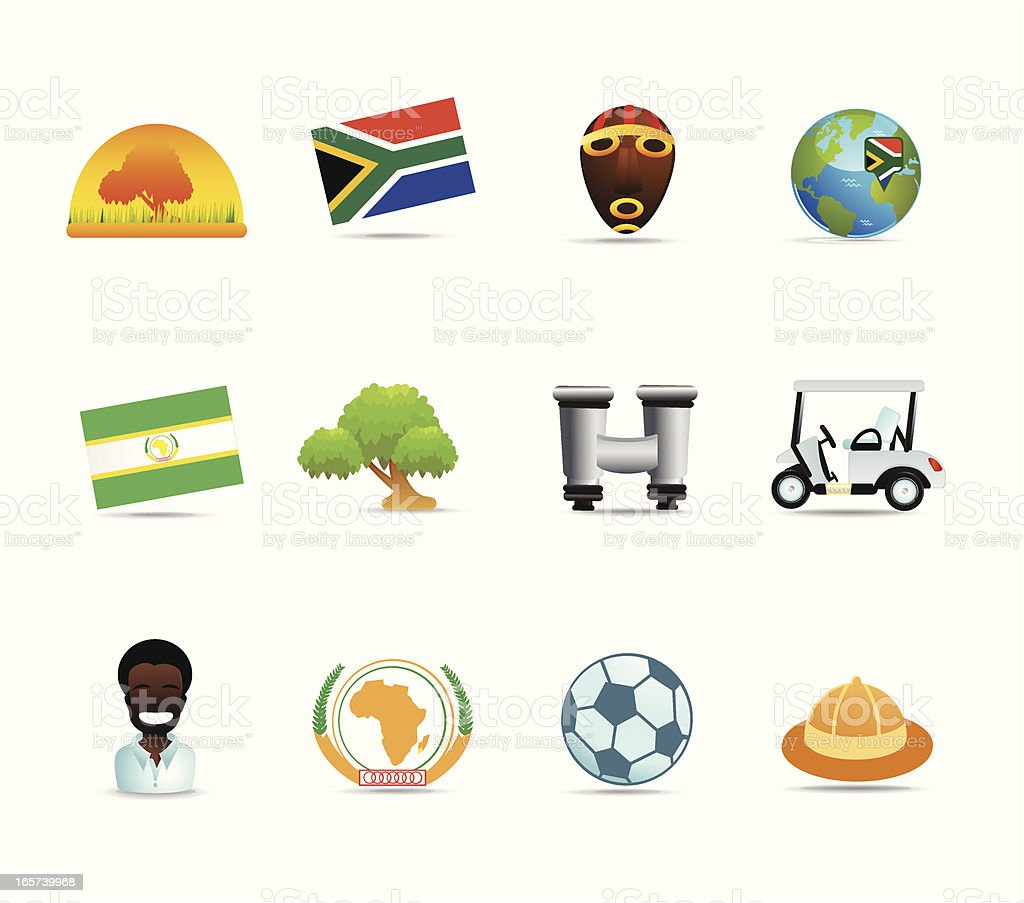 South Africa Icons vector art illustration