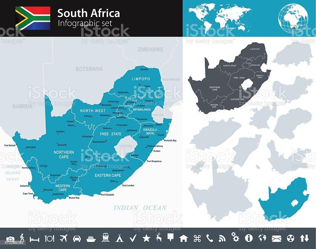 South Africa - Infographic map - illustration vector art illustration
