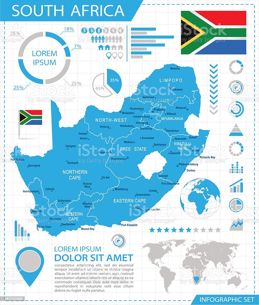 South Africa - infographic map - Illustration vector art illustration