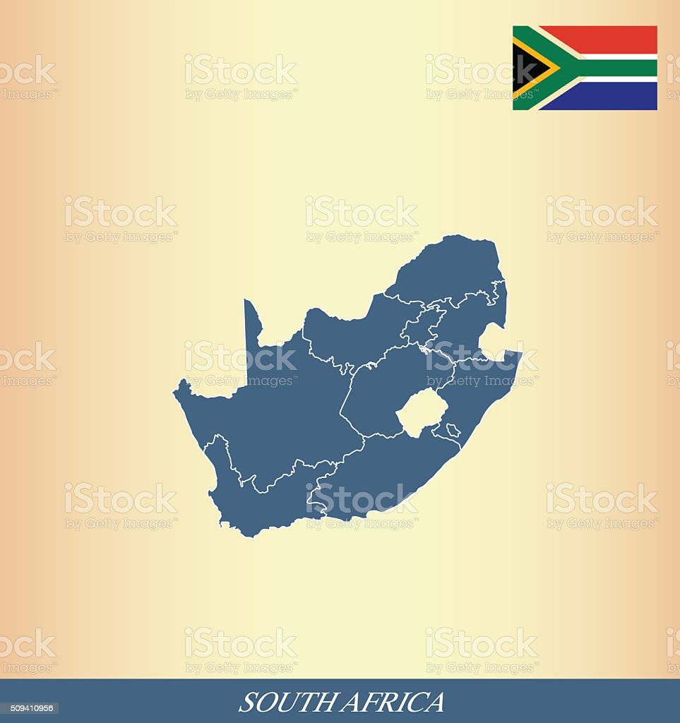 South Africa map and flag outline vector vector art illustration