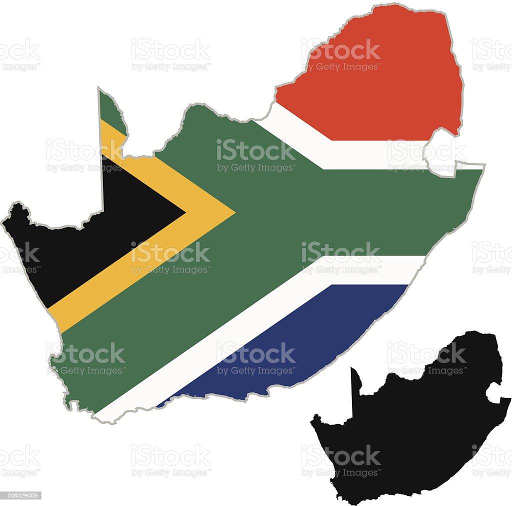 South Africa map flag vector art illustration