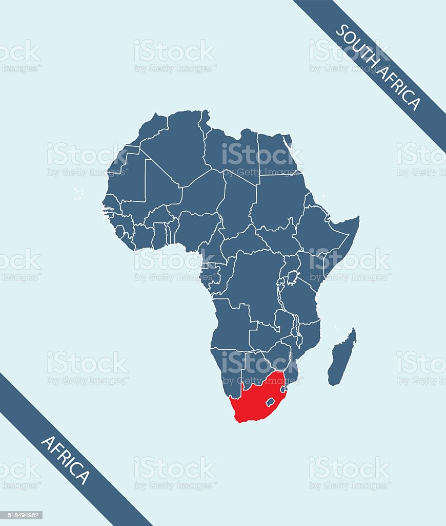 South Africa map outline vector highlighted in Africa vector art illustration
