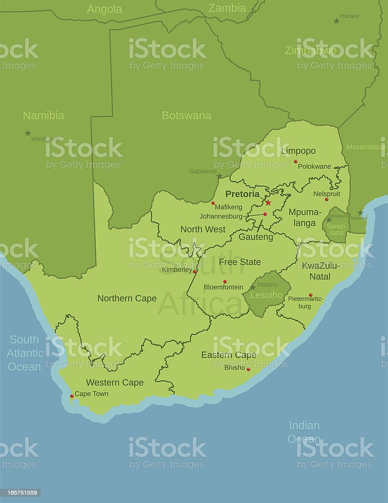 South Africa Map showing Provinces vector art illustration