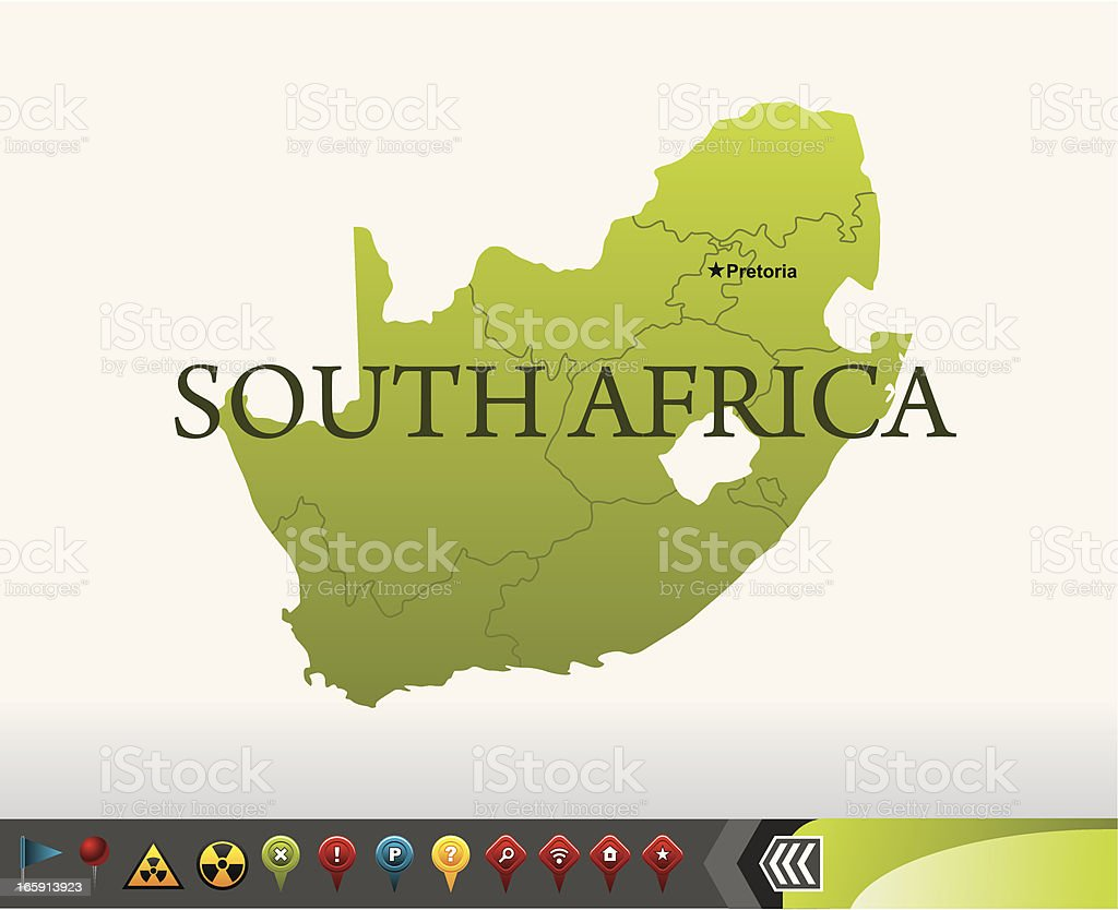 South Africa map with navigation icons royalty-free stock vector art