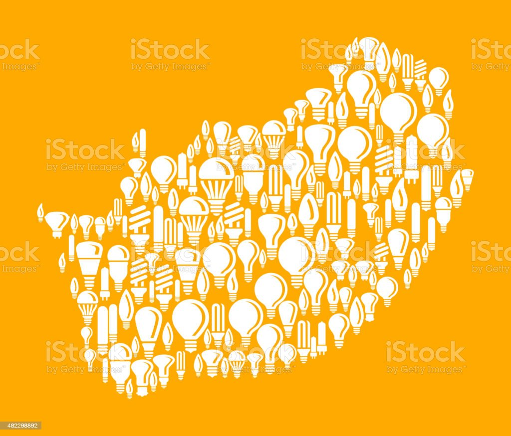 South Africa on Vector Lightbulb Pattern Background vector art illustration