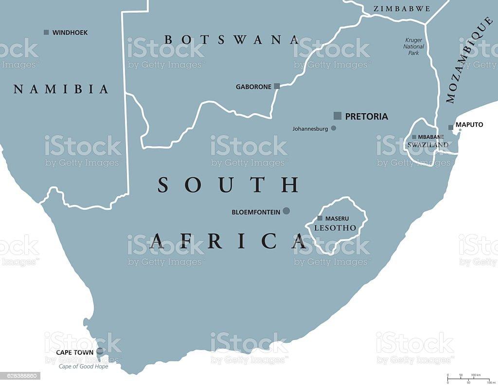 South Africa political map vector art illustration