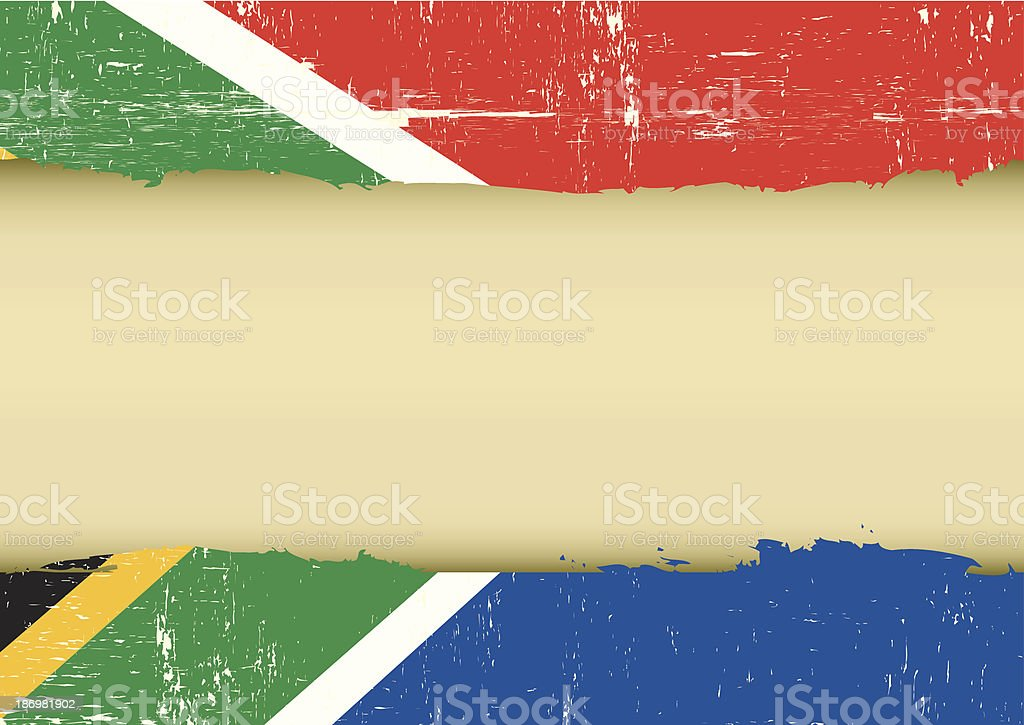 South Africa scratched flag vector art illustration