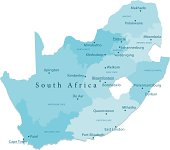 South Africa Vector Map Regions Isolated