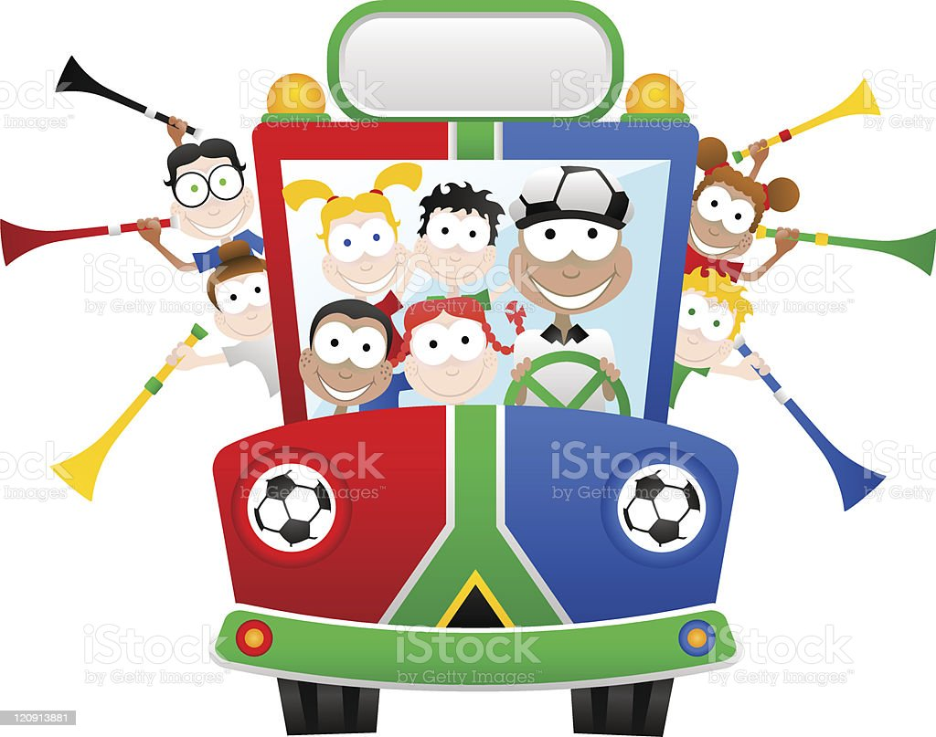 South Africa World Cup Fan Bus royalty-free stock vector art