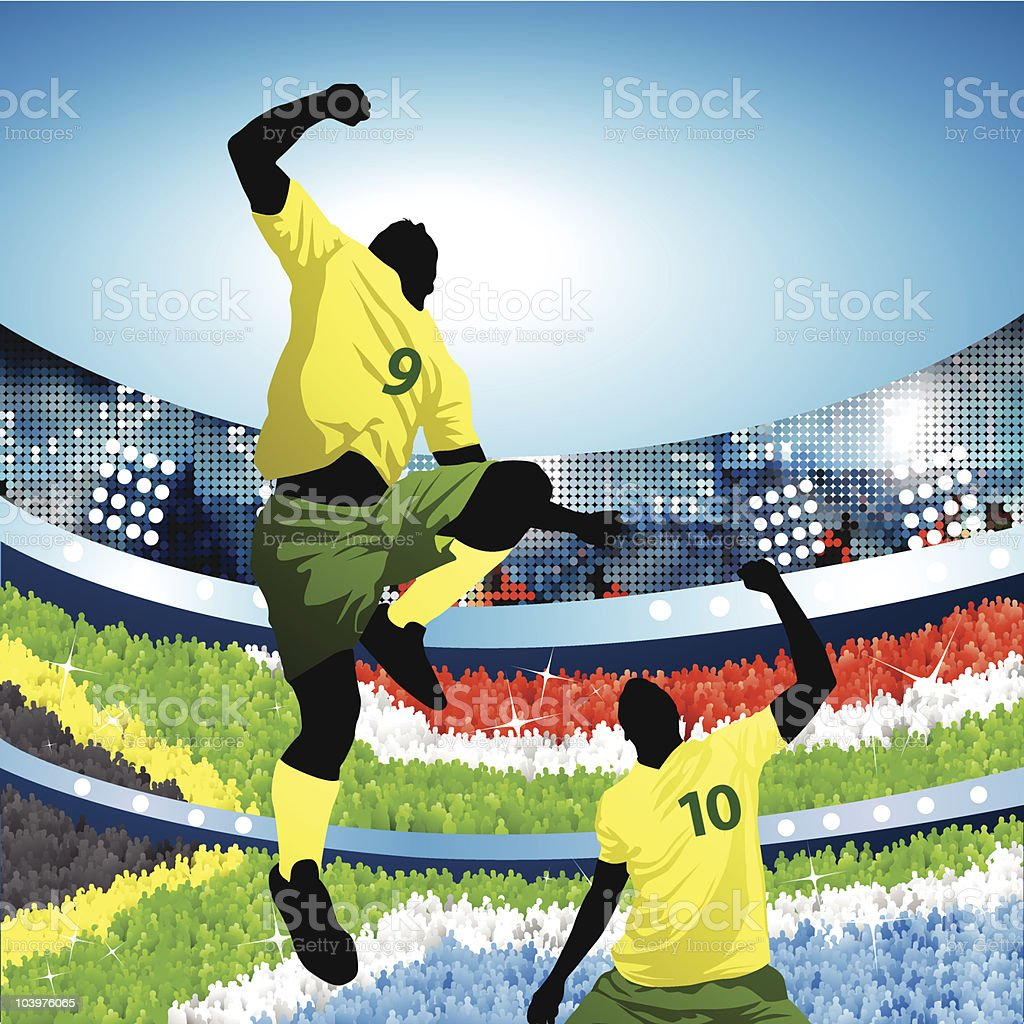 South african soccer players celebrating at home vector art illustration