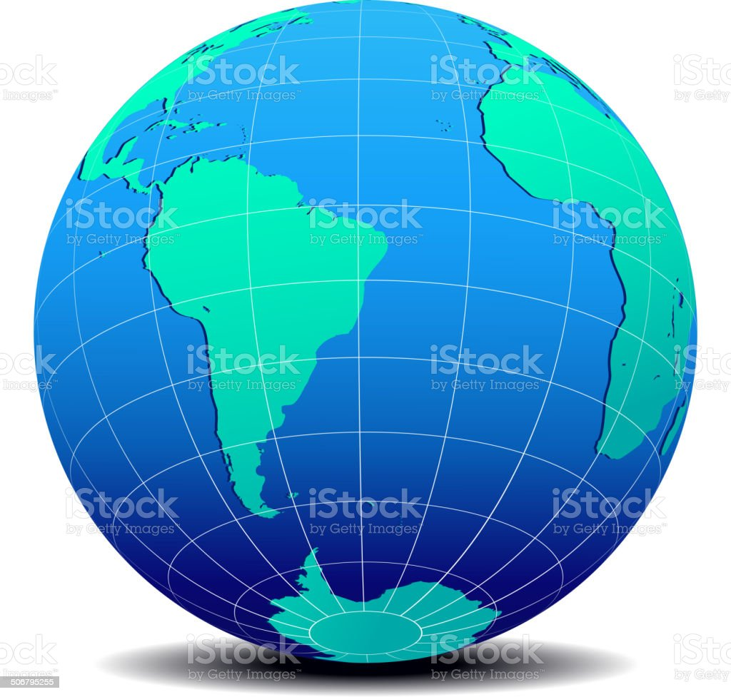 South America and Africa Global World vector art illustration