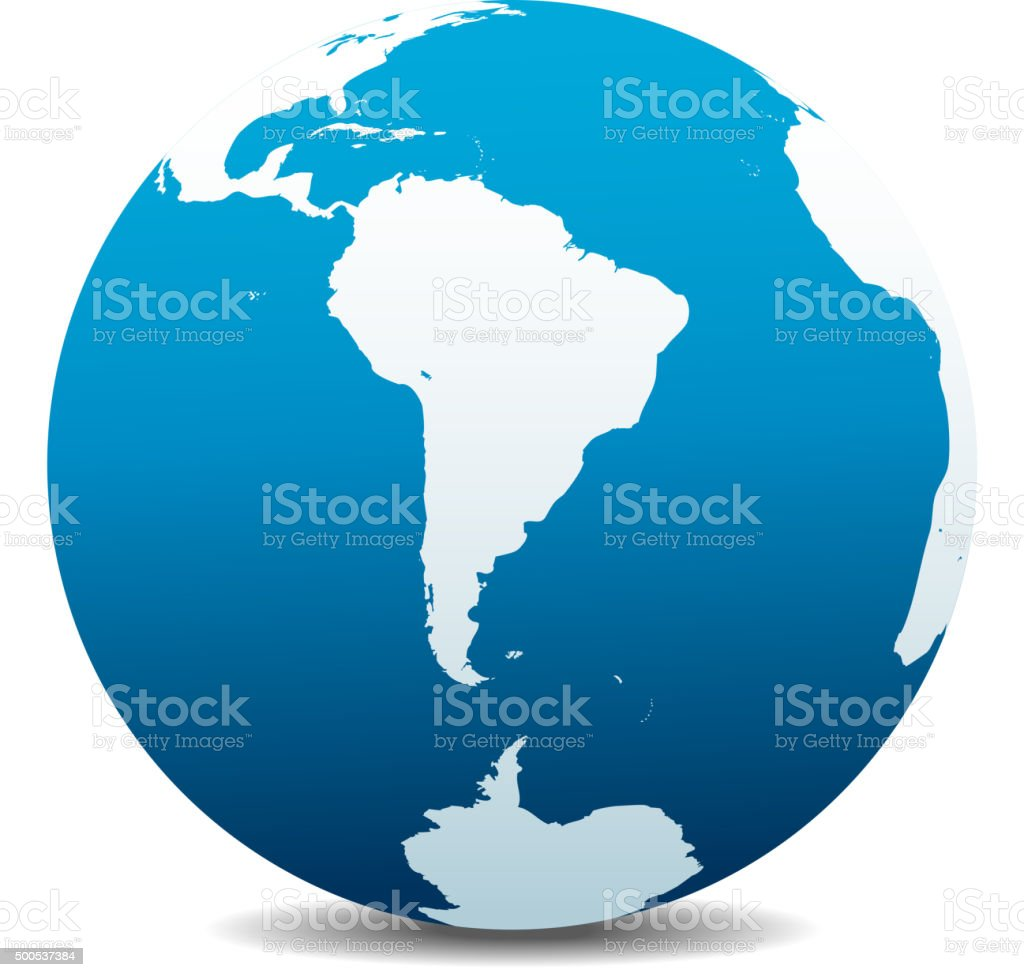 South America and South Pole Global World vector art illustration