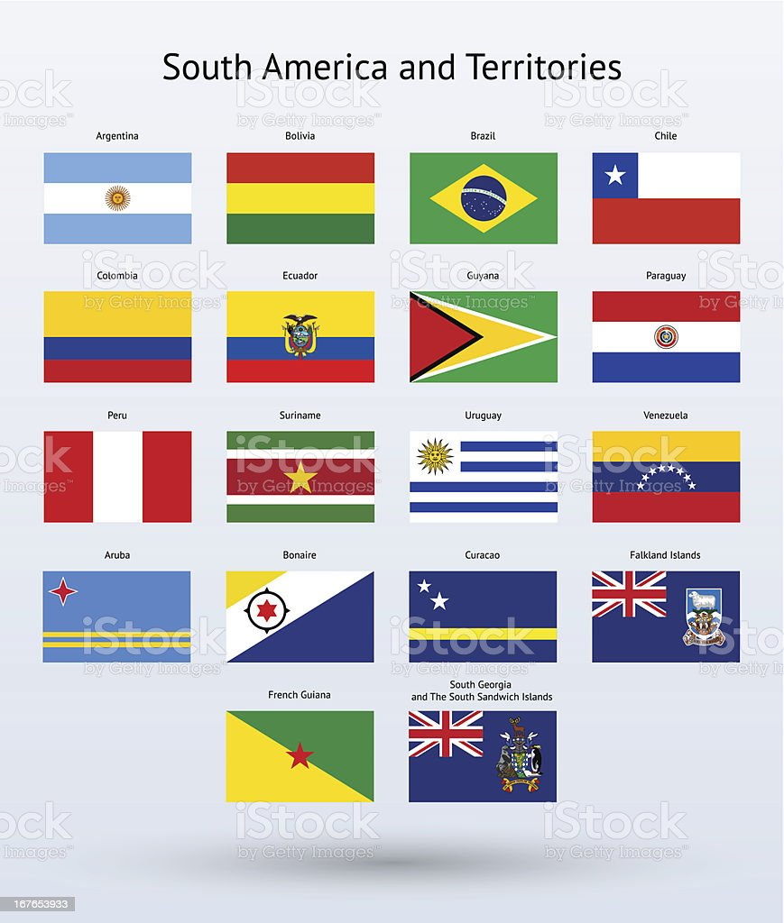 South America and Territories Flags Collection royalty-free stock vector art