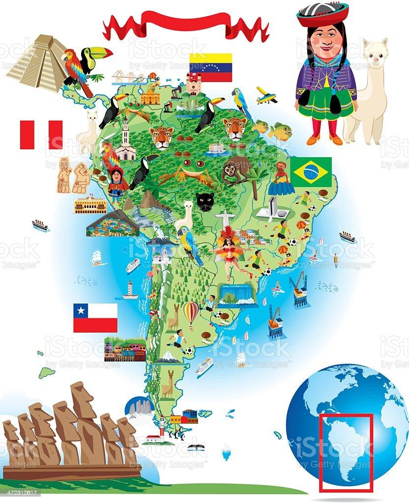 South America Cartoon Map vector art illustration
