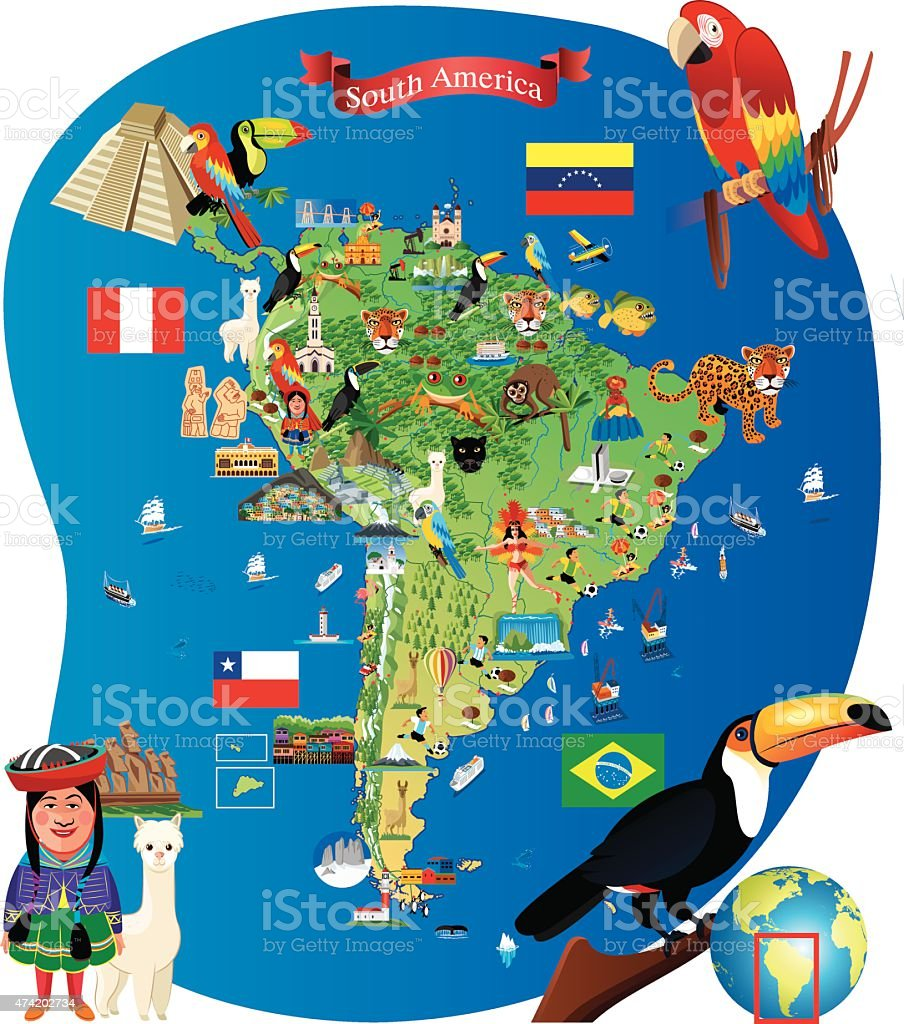 South America Cartoon Map Stock Vector Art  IStock - Sur america map