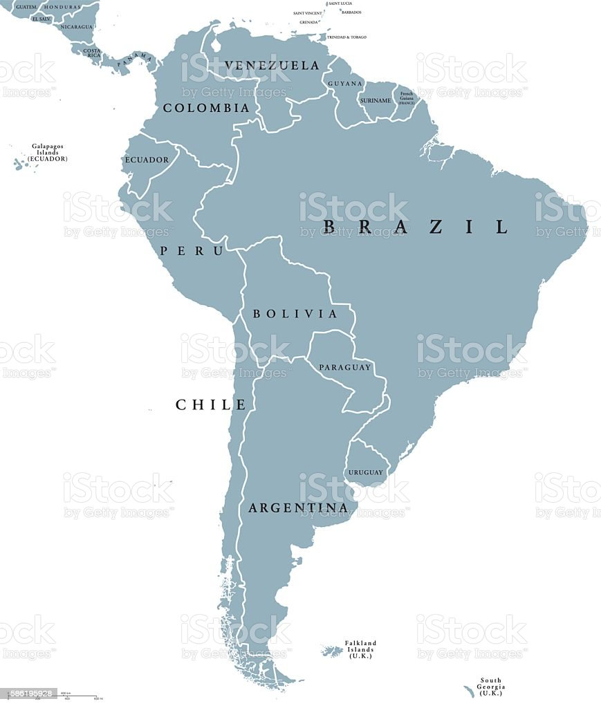 South America countries political map vector art illustration
