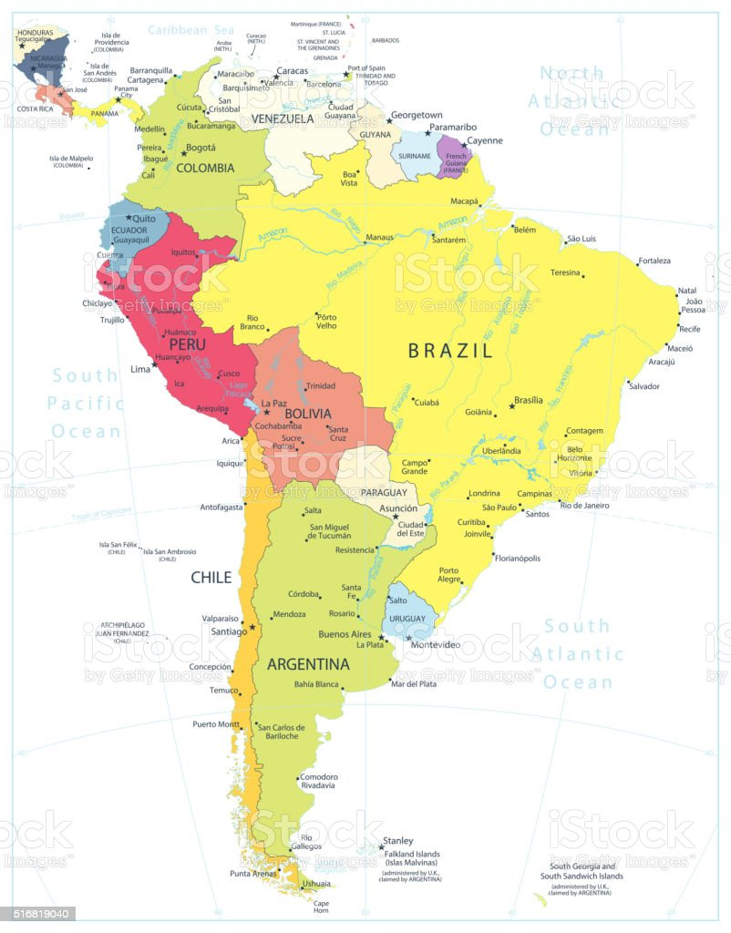 South America Detailed Political Map Isolated On White vector art illustration