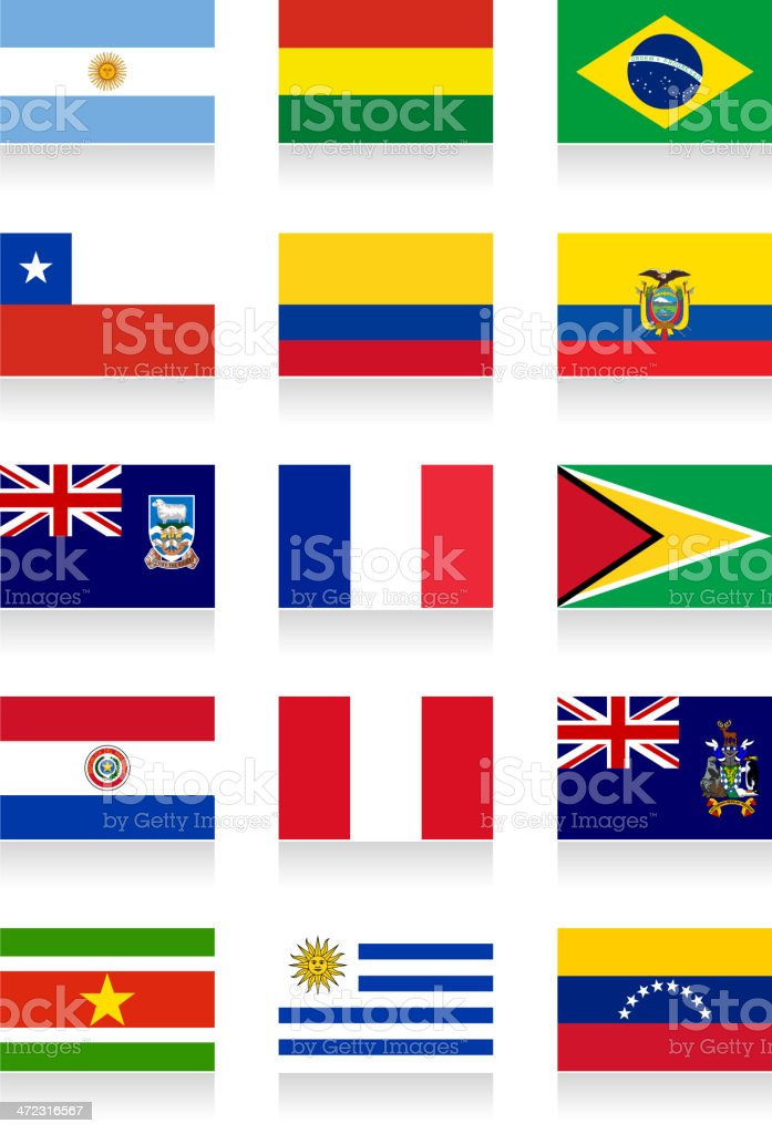 South America Flag Collection royalty-free stock vector art