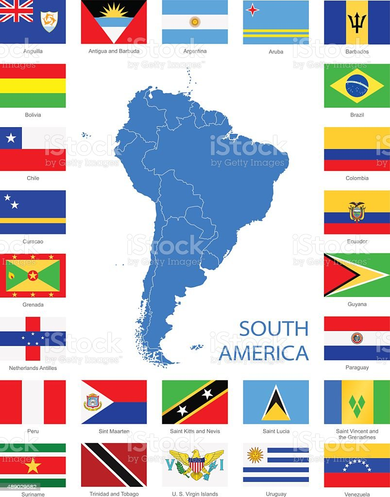 South America - Flags and Map - Illustration vector art illustration