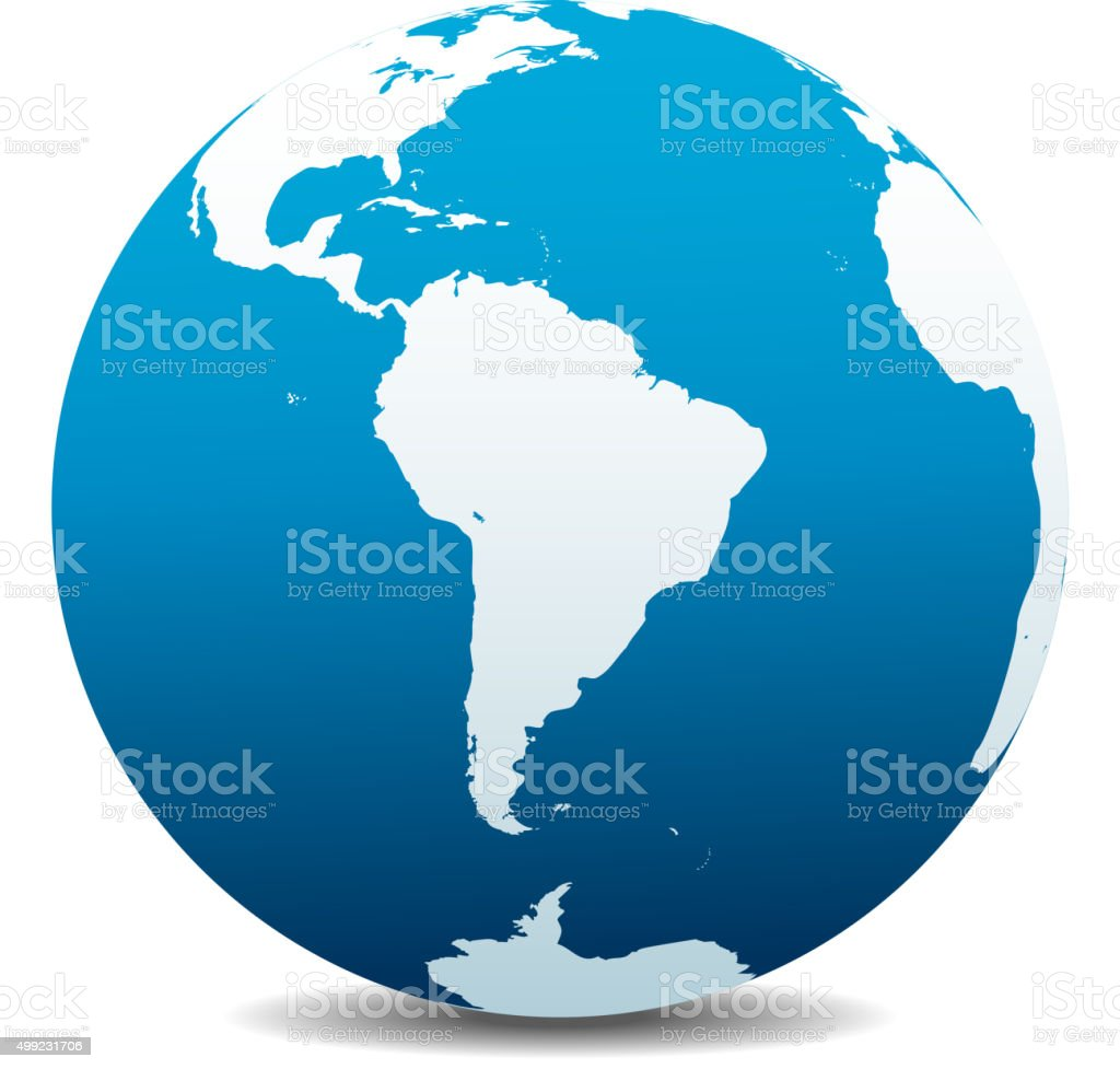 South America Global World vector art illustration