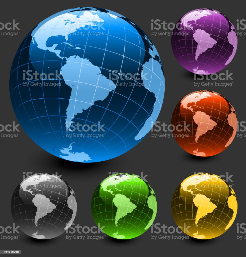 South America globe on dark Background Collection royalty-free stock vector art