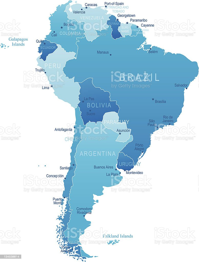 South America - highly detailed map royalty-free stock vector art