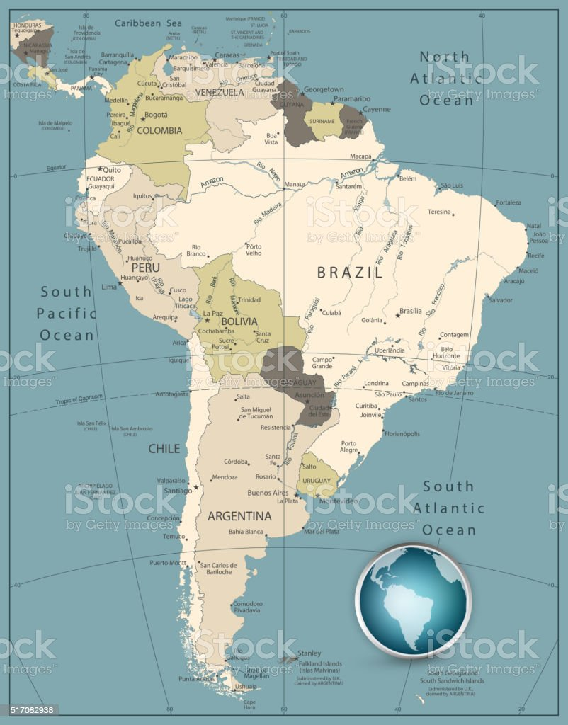 South America Highly Detailed Map vector art illustration