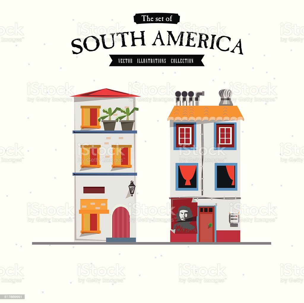 South America house style - vector illustration vector art illustration