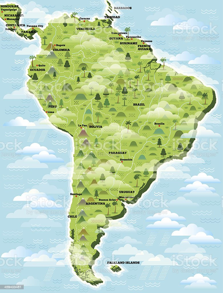 South America illustrated map. vector art illustration