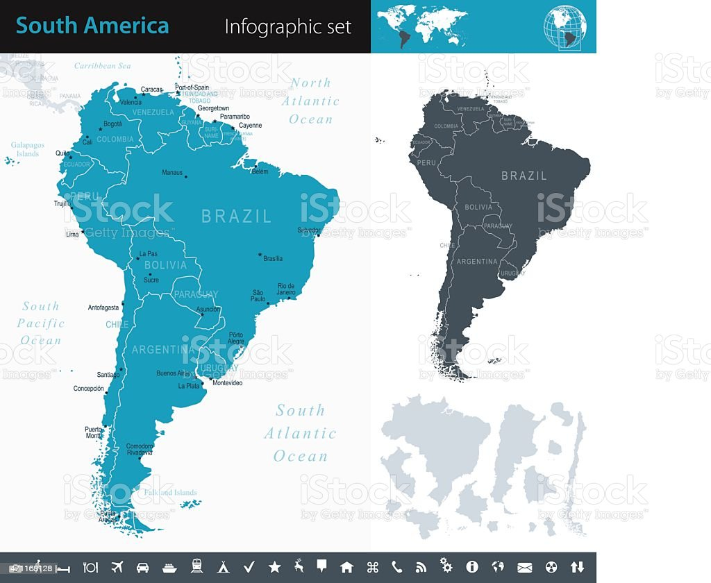 South America - Infographic map - illustration vector art illustration