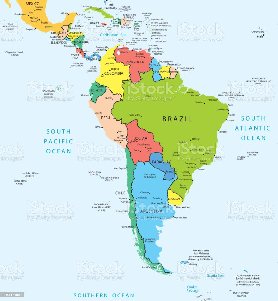 South America map countries and cities royalty-free stock vector art