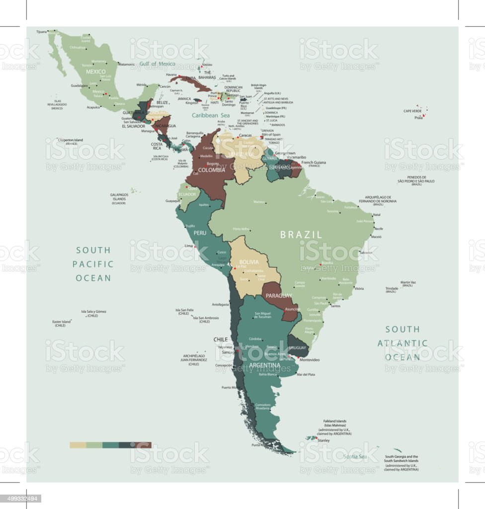 South America map countries and cities vector art illustration