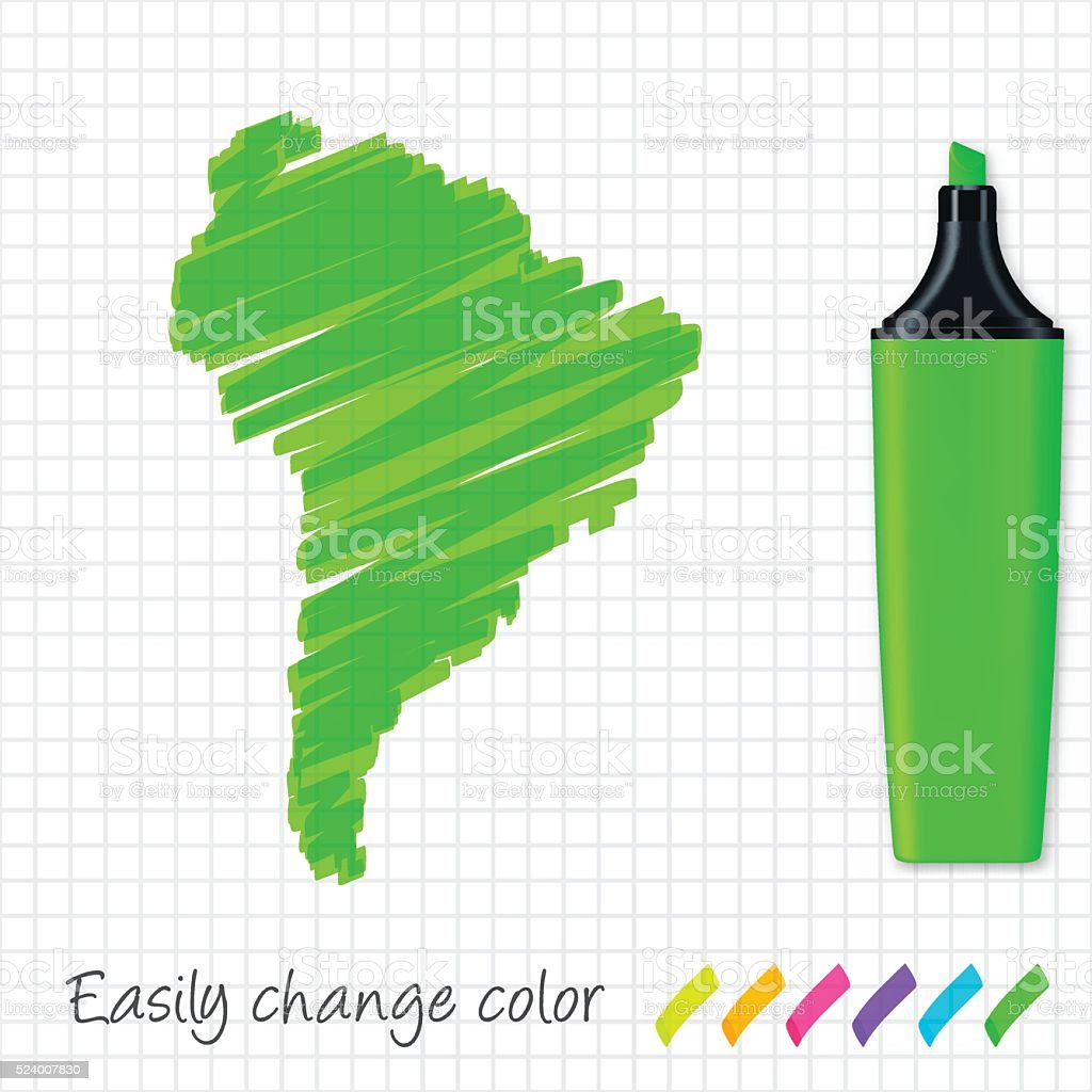 South America map hand drawn on grid paper, green highlighter vector art illustration
