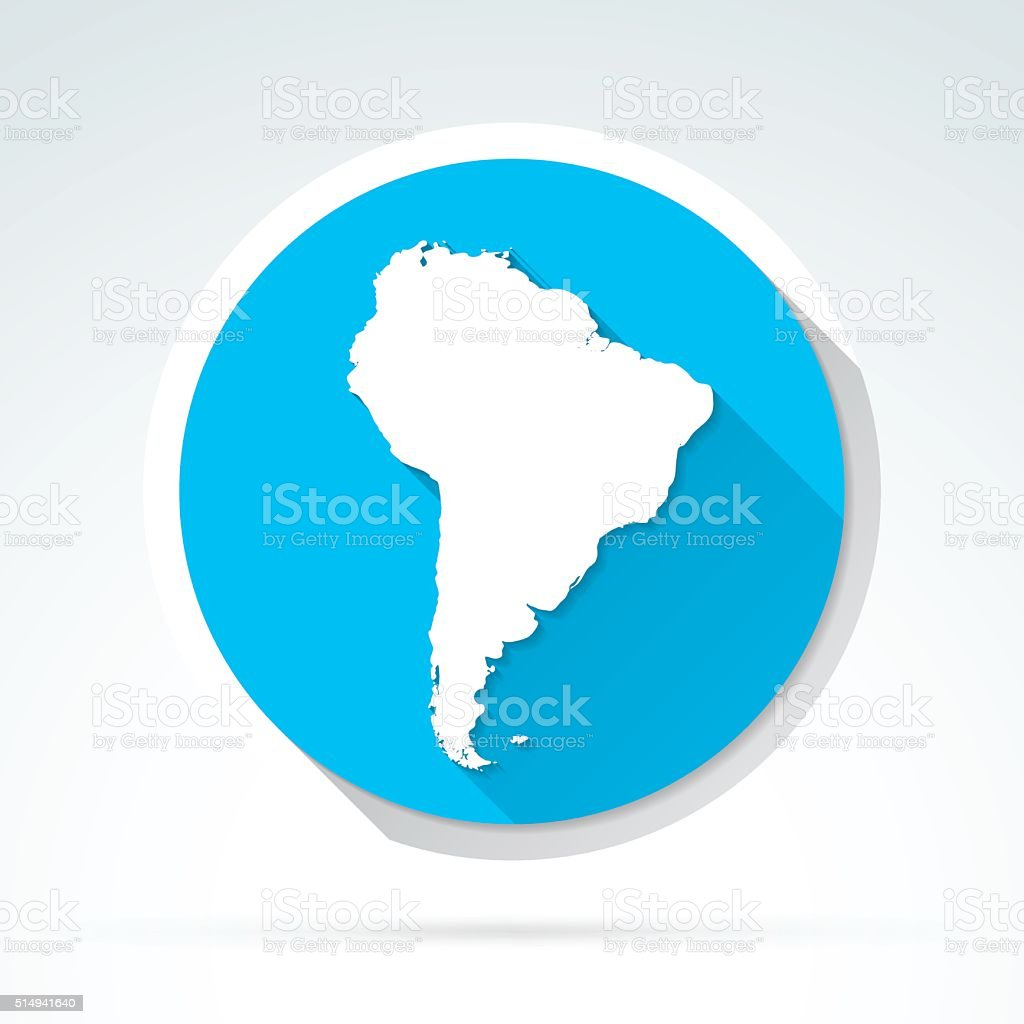 South America map icon, Flat Design, Long Shadow vector art illustration